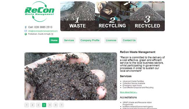 Recon Waste Management web design screen shot