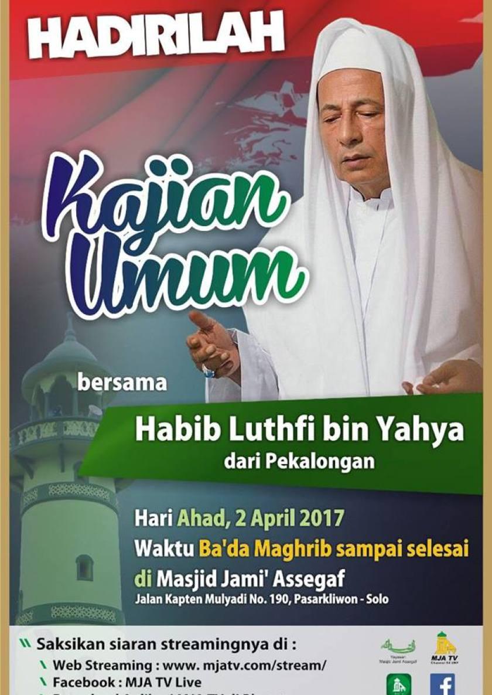 Kajian Islam Ahlussunnah wal Jamaah bersama Maulana Habib Muhammad Luthfi bin Yahya di Masjid Jami' Assegaf Solo. Foto: MJA Solo.