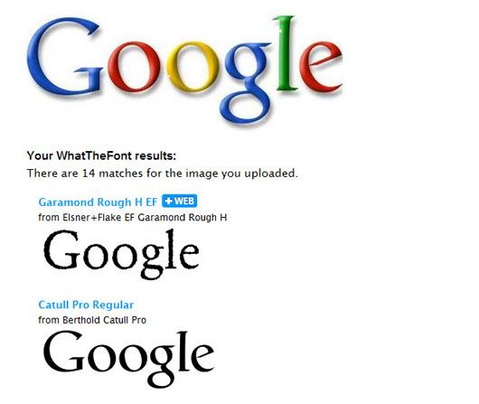 Logo do Google sendo identificado no WhatTheFont