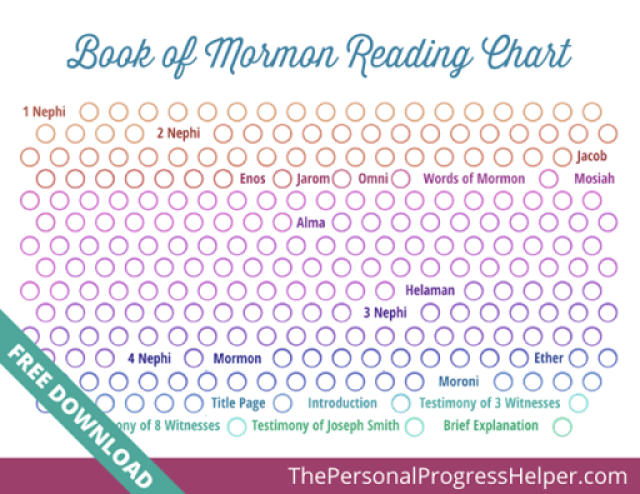 Book of Mormon LDS Standard Works Scripture Reading Charts from The Personal Progress Helper