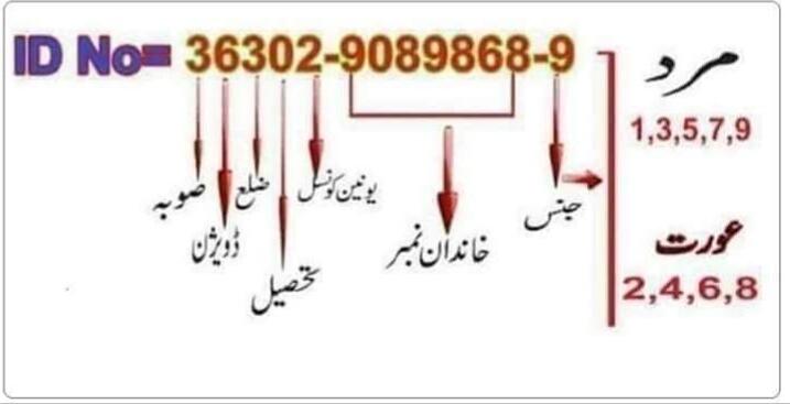 Pakistani ID Card Number Detailed Explanation
