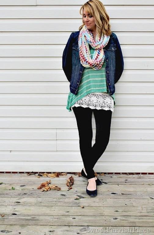 black-leggings-denim-jacket-green-striped-tank-lace-extender-scarf1