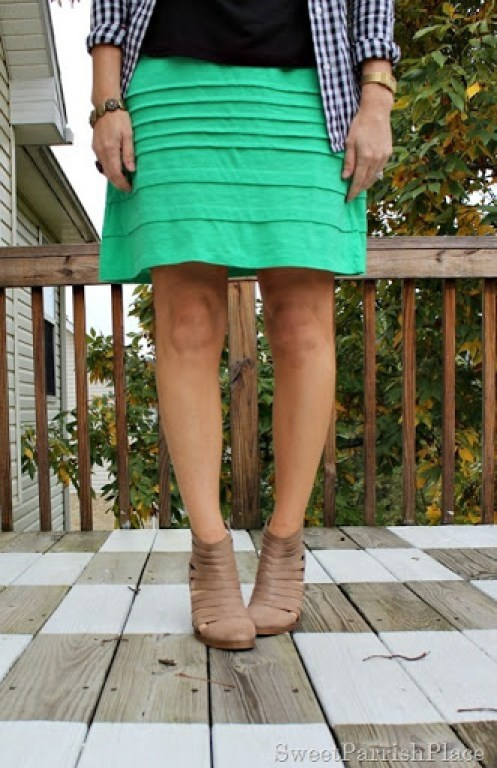 green-skirt-black-top-plaid-button-down-booties-2