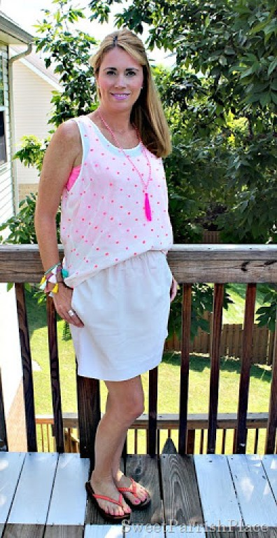 Kahki Skirt Polka dot tank coral sandals3