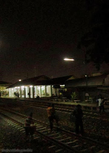 September 2013 - Passengers crossing the track, Midnight, somewhere in Thailand