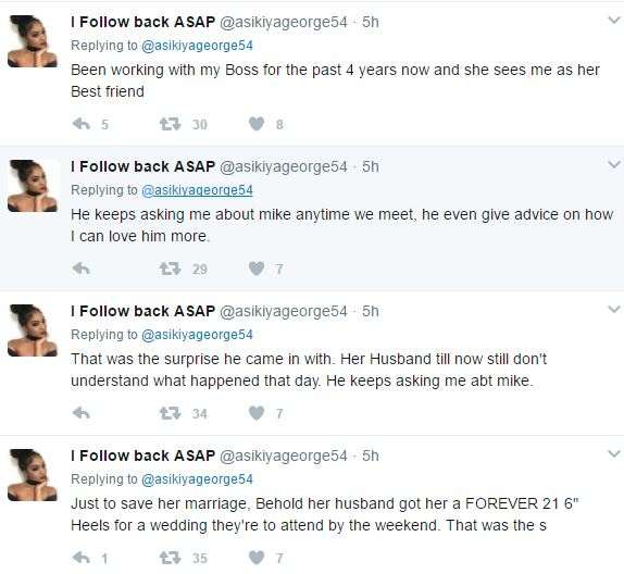 Read the story of how a Nigerian lady saved her cheating boss from being caught by her husband