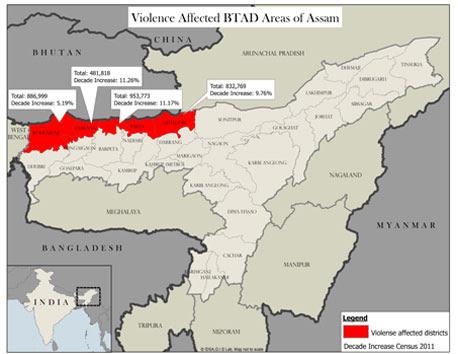 Violence affected BTAD areas of Assam