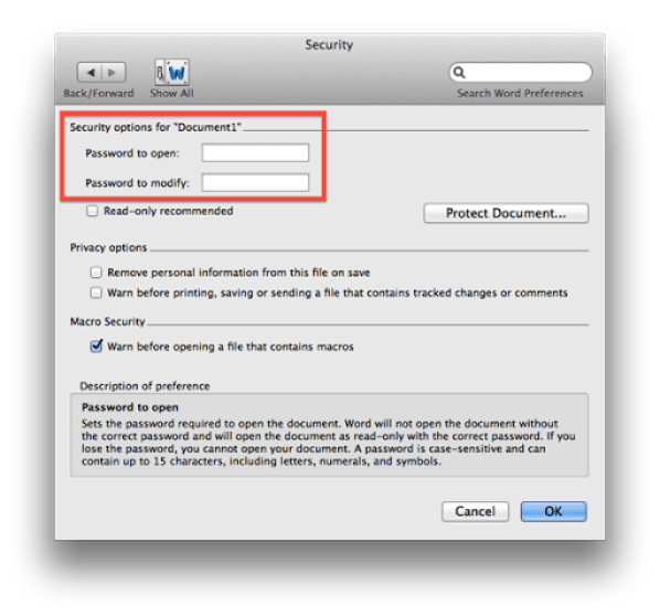 Microsoft Word Security Set Password