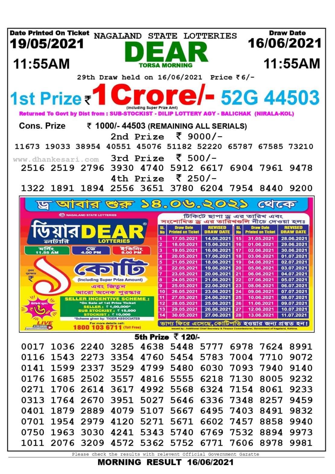 Nagaland State Lottery Result Today 11:55 AM 16.6.2021