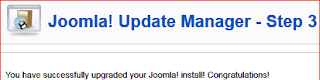 6.joomla update manager step3 joomla successfully upgraded