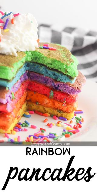 Rainbow colored pancakes