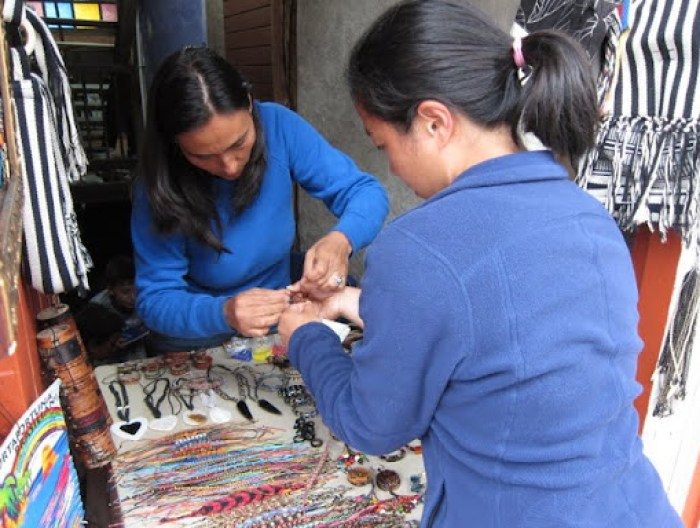 Getting my bracelet in Salento, Colombia