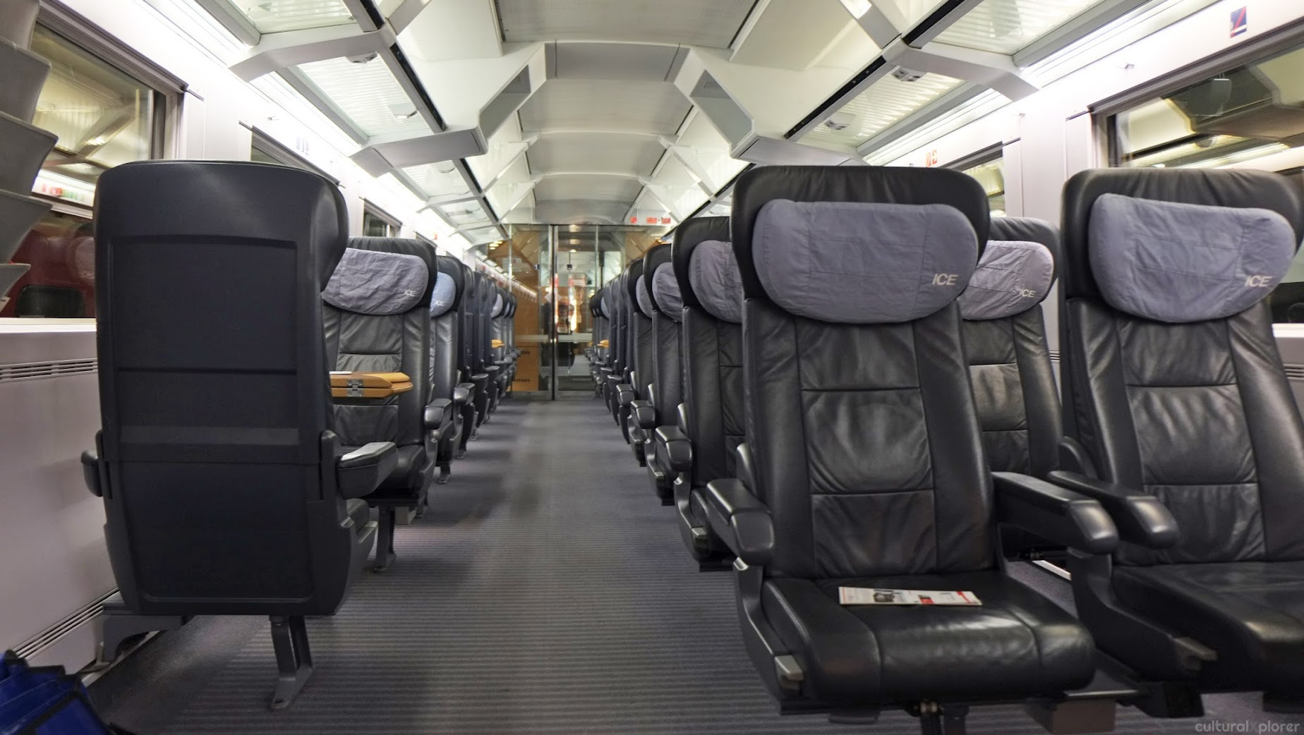 First class train through Switzerland into Germany