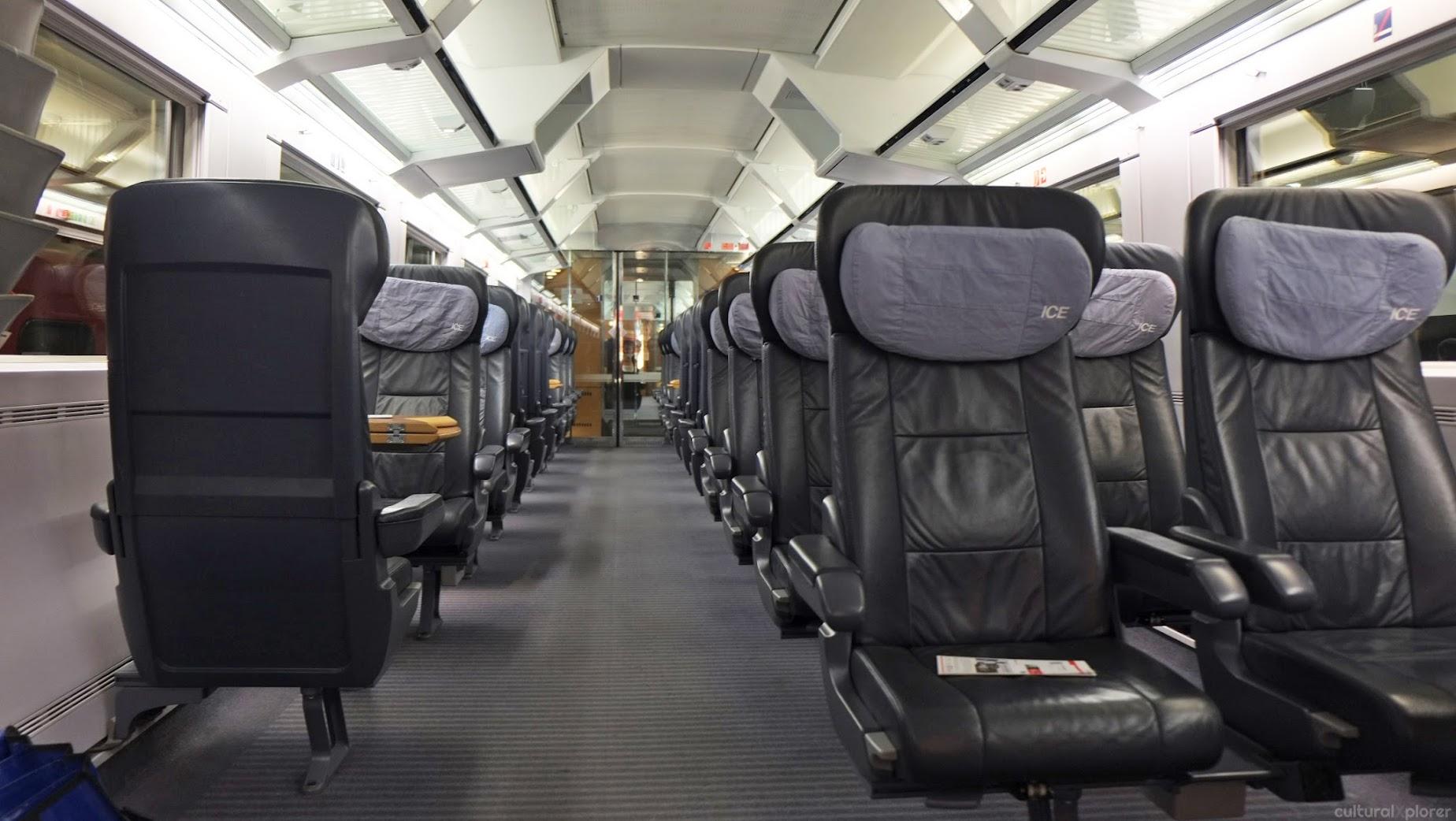 First class train through Switzerland into Germany