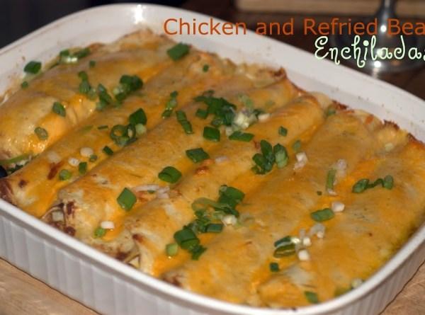 Chicken and Refried Bean Enchiladas