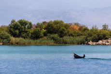 A nun going to a small monastery on the island 'Ostrvo Beska' on the Lake Skadar.
