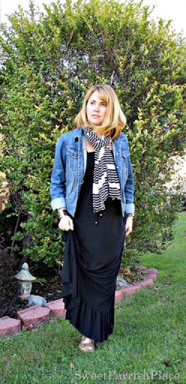 black-maxi-denim-jackets-striped-scarf-3
