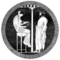 "Illustration from ""Illustrerad verldshistoria utgifven av E. Wallis. volume I"": Phytia giving an answer"