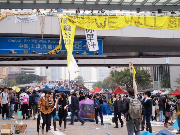 The last day of Umbrella Revolution in Hong Kong