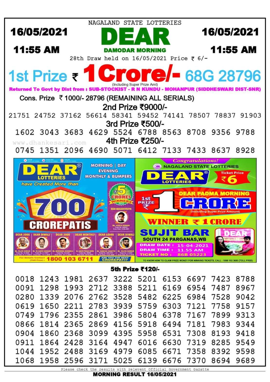 Dhankesari Lottery Sambad Result Today 11:55 AM 16.5.2021