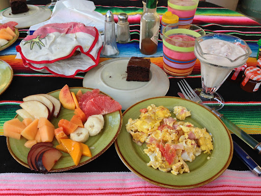 Awesome breakfast included at Coyote Village Hostel in Loreto