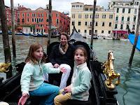 The start of our gondola ride, near Rialto bridge.