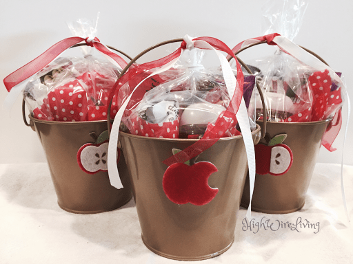 Apple themed gift bucket