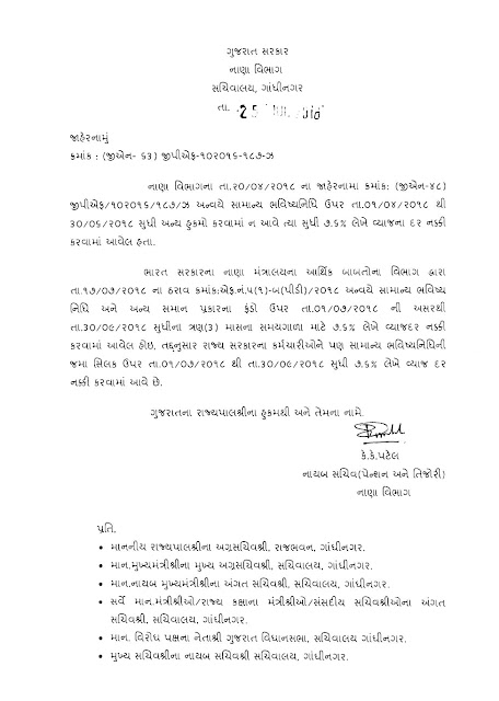 Important Circular About Interest Rate GPF