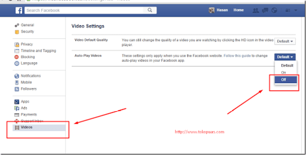 cara mematikan auto play status video facebook