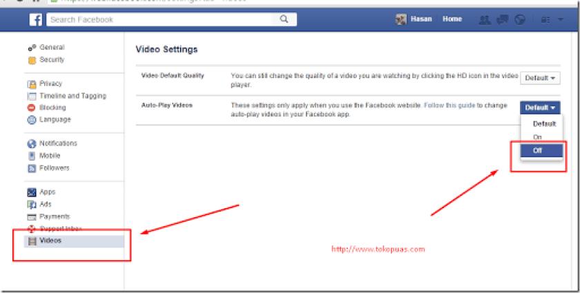 cara mematikan auto play status video facebook