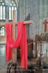 Our new Easter cross, made from the frame from which our bells were formerly hung