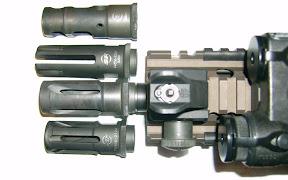 Various Surefire muzzle devices.