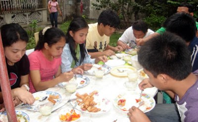February 14: Students having lunch courtesy of Hazel Ann's family.
