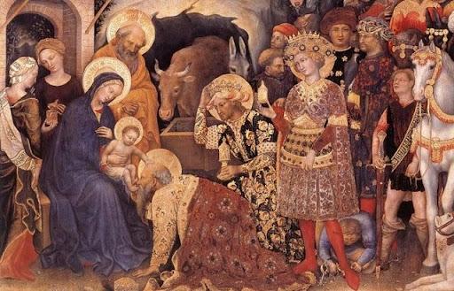 Gentile da Fabriano, L'adorazione dei Magi (1420)è una tempera su tavola (203 x 282 cm) con un'elaborata cornice scolpita in legno dorato. È conservata agli Uffizi di Firenze. (fonte web)