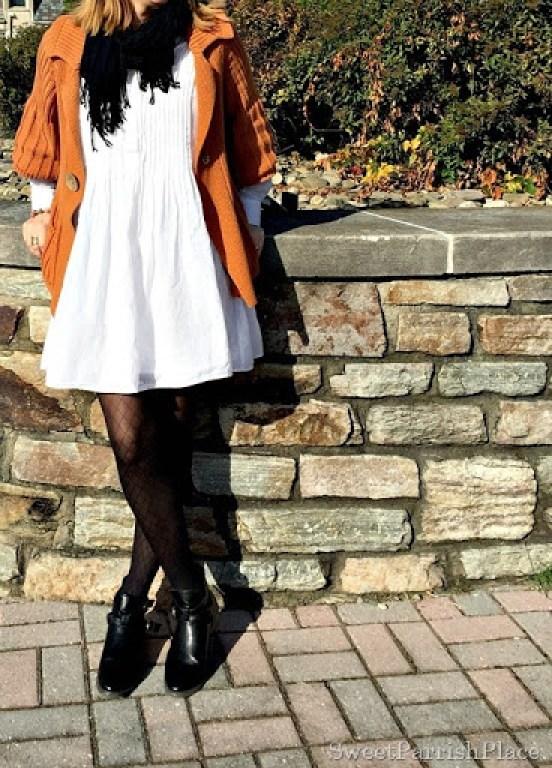 white-dress-orznge-chunky-swezter-black-tights-booties-2