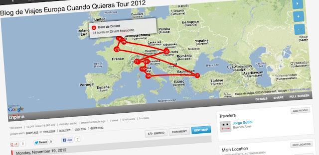 Mapa del recorrido del Blog de Viajes Europa Cuando Quieras Tour 2012
