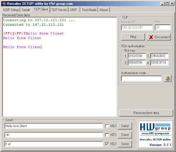 Hercules Terminal Serial Communication Software interface