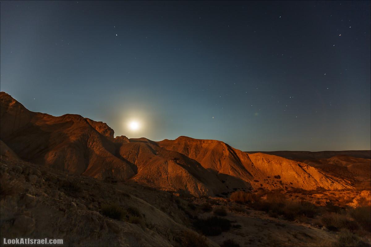 Ночь в пустыне Негев, ущелье Хаварим   Night in Negev desert, Wadi Hawarim    LookAtIsrael.com - Фото путешествия по Израилю