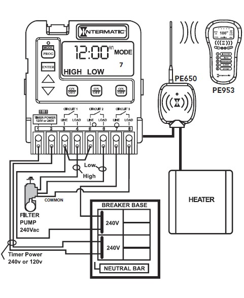Circuit wiring diagram for intermatic pool timers