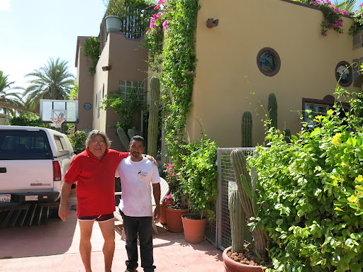 Mike one of the owner of Coyote Village Hostel in Loreto with one of his staff. Awesome place to stay in Loreto and excellent host!