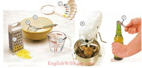 Ekipman kwizin - Kitchen Utensils - Kitchenware -Housing - Photo Dictionary