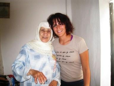 The author with Fatima Hajj at Mieh-Mieh Palestinian refugee camp in Saida, Lebanon. Three days before the Nakba survivor's death. Photo: Zeinab Hajj