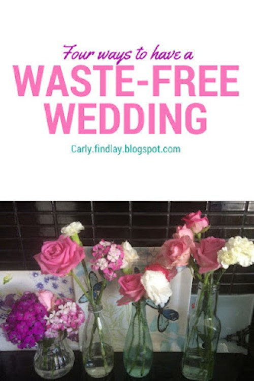 Four bottles containing pink and purple flowers. Text: four ways to have a waste-free wedding