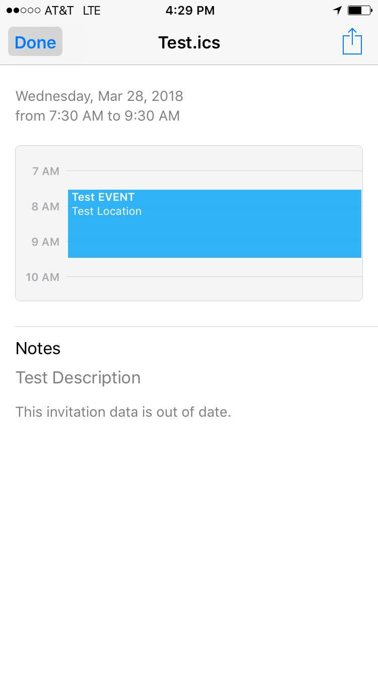 I Ve Provided 2 Diffe Ics Files And A Screenshot From The Gmail App Says This Invitation Data Is Out Of Date When Tapping On