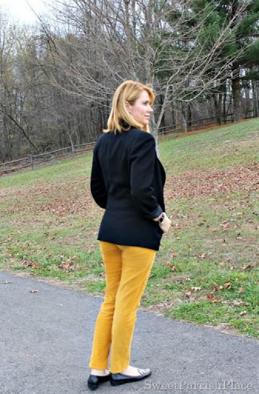 mustard-corduroys-black-blazer-lace-top-zebra-flats-2
