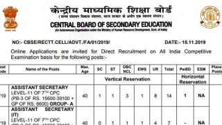 CBSE Recruitment 2019: 357 Vacancies | Last date: