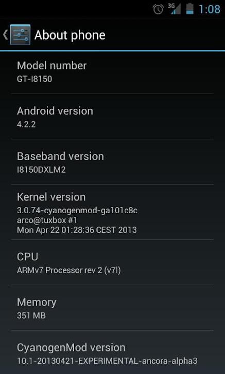 Android 4.2.2 Jelly Bean CM 10.1 di Galaxy W I8150 Gambar