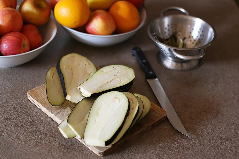 Cooking eggplant bruschettas.