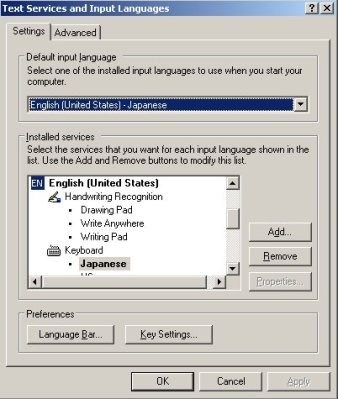 Windows XP language settings for a Japanese keyboard