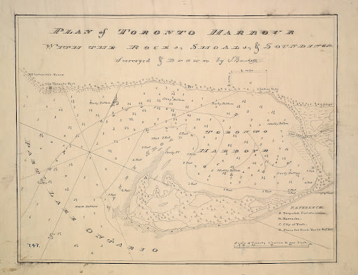 1793 Plan of Toronto Harbour with the rocks, shoals & soundings r-34